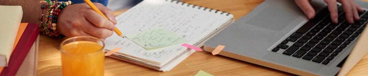 Student writing reflective essay